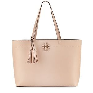 Tory Burch McGraw Pebbled Leather Tote Bag Large